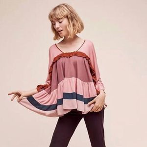 Anthropologie Meadow Rue Colorblock Ruffle Blouse